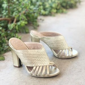 Tory Burch Brida Gold Leather Sandal Mules